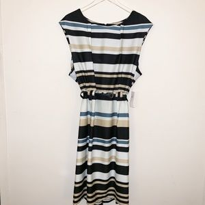 Emma & Michele Size 22 Dress Cream/Black/Blue
